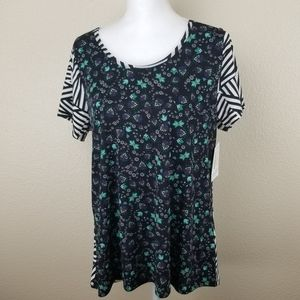 LuLaRoe Classic T Floral with Striped Reverse L